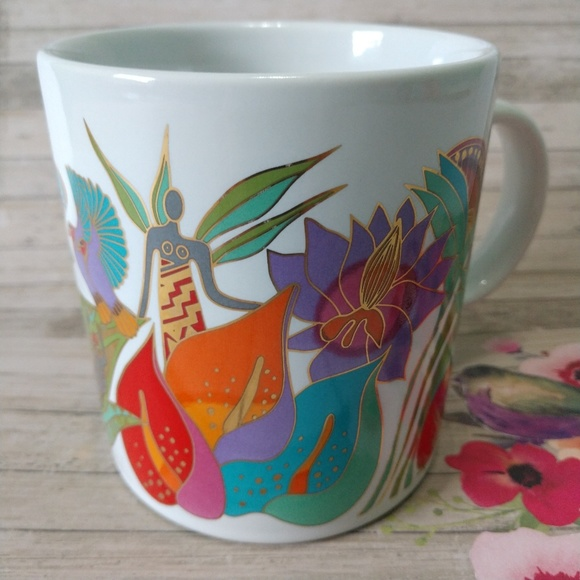 Laurel Burch Coffee Mug 1989 Fantasy In The Forest Made in Japan